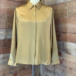 ELISABETH Gold Button Down Silk Dress Blouse